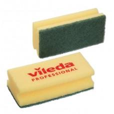 Губка средней жесткости c зеленым абразивом (9,5х7 см), 1 упаковка (10 штук)